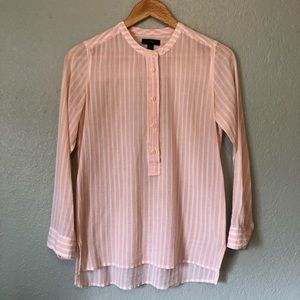 J. Crew pink and white blouse with grandad collar